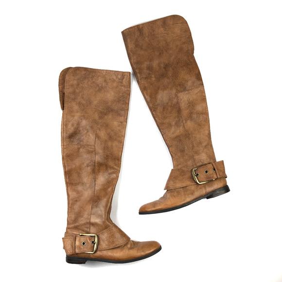 e2996ed427e83 Nine West Shoes | Isolda Over The Knee Leather Flat Boots | Poshmark